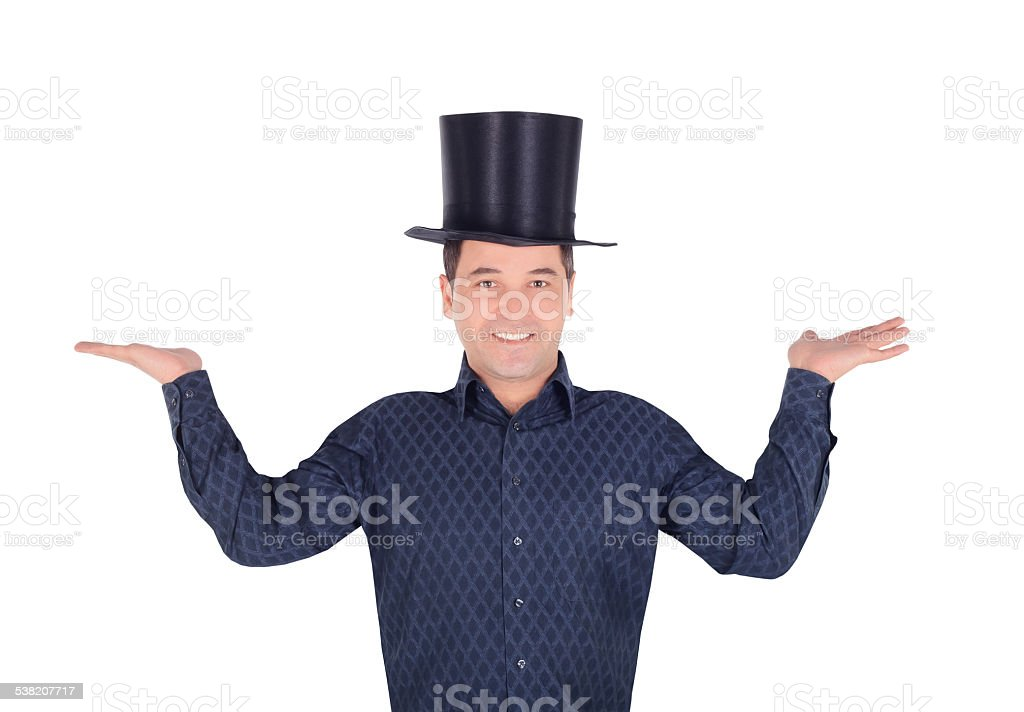 Brightly pictures of cheerful man in top hat cylinder stock photo