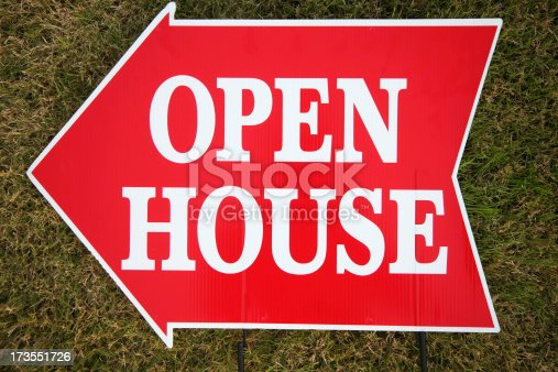 istock Brightly Red Arrow Open House Sign 173551726