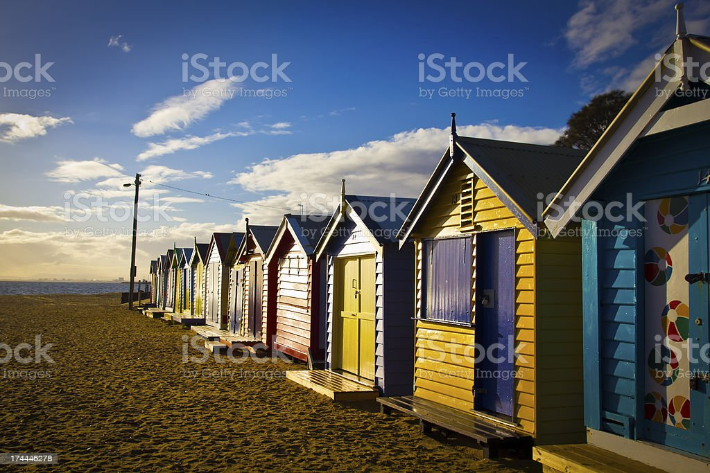 Brighton bathing boxes in a row royalty-free stock photo
