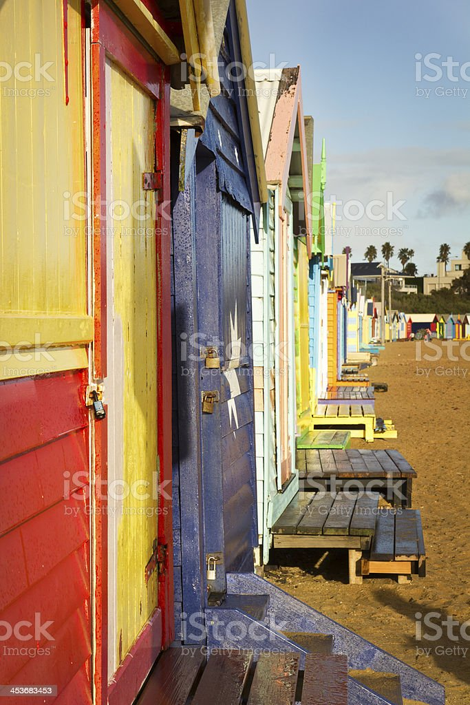 Brighton bathing boxes in a row stock photo