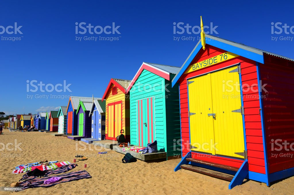 Brighton beach bathing boxes in Melbourne Australia stock photo