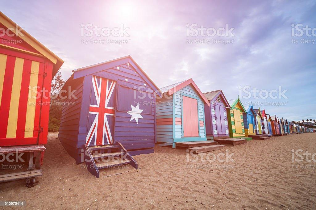 Brighton beach bathing boxes, Melbourne. Brighton beach located stock photo