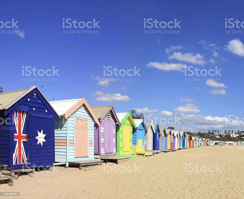Brighton Beach Bathing Boxes royalty-free stock photo