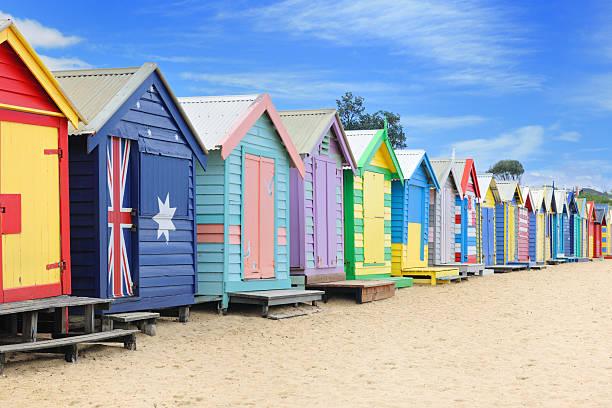 brighton beach-hütten, australien (xxxl - kunst 1. klasse stock-fotos und bilder