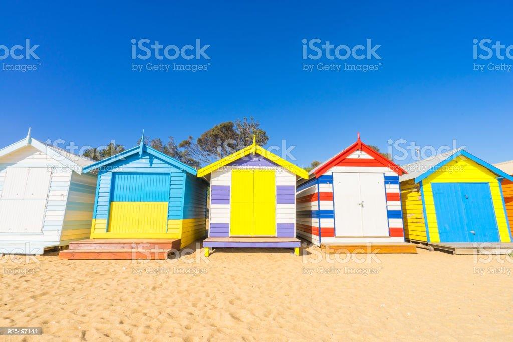 Brighton Beach Huts in Melbourne, Australia stock photo
