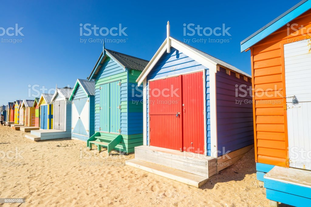 Brighton Beach Huts in Melbourne, Australia stock photo