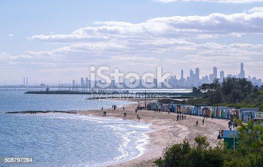 istock Brighton beach landscape in Melbourne, Australia. 508797264
