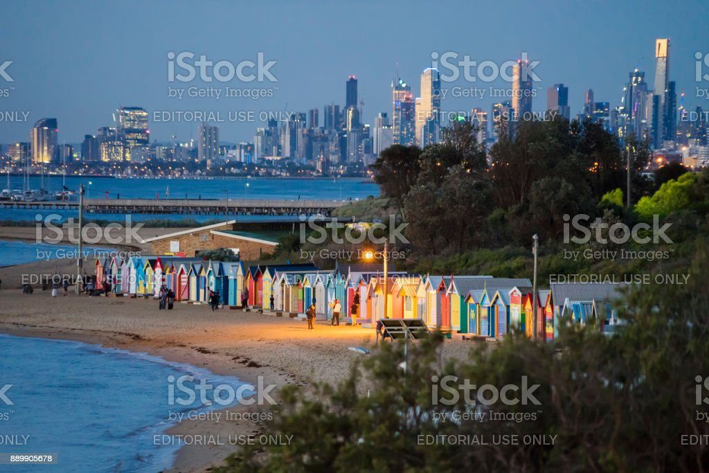 Brighton Beach, Melbourne, at dusk stock photo