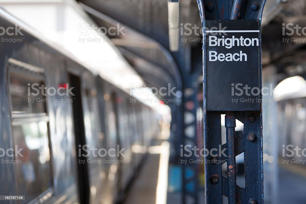 Brighton Beach Train Station in Brooklyn, NY stock photo