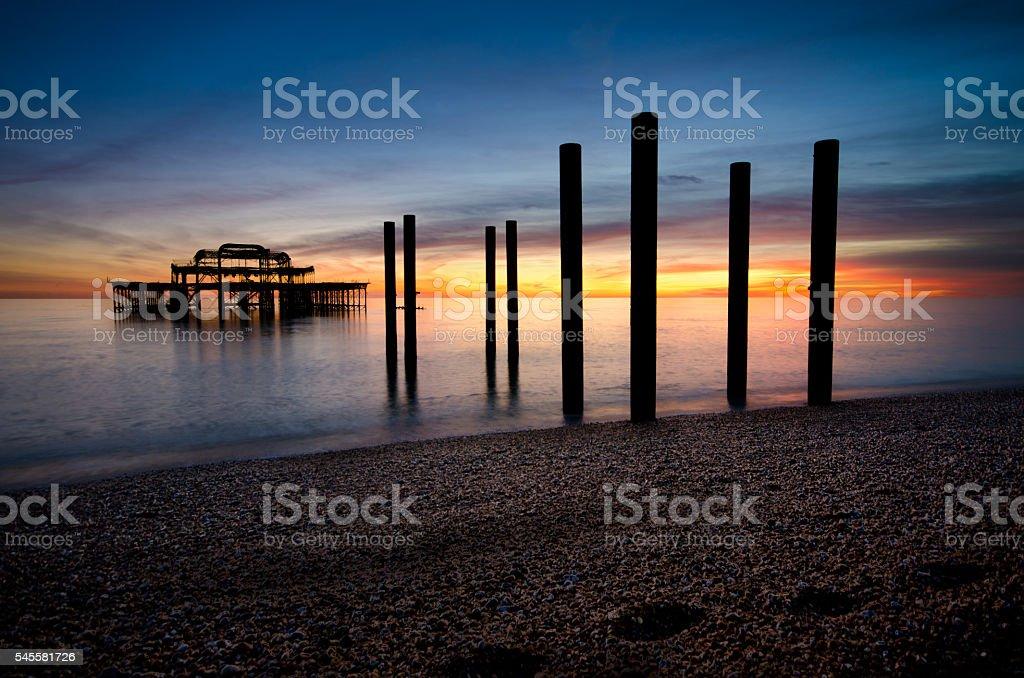 Brighton Beach UK Sunset stock photo