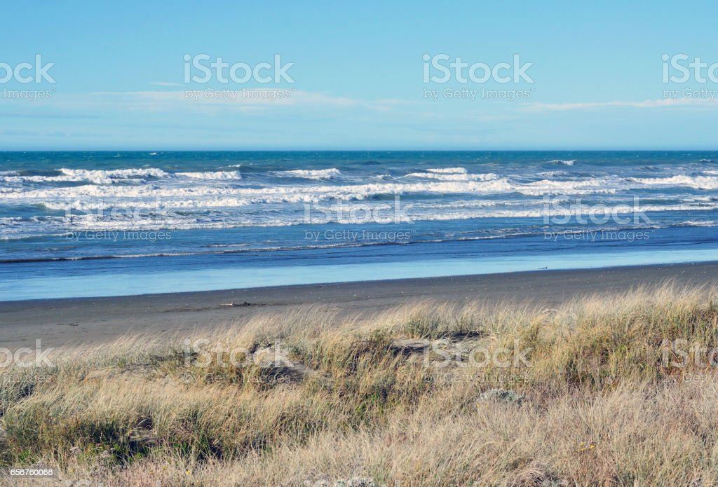 Brighton Beach View in Christchurch stock photo