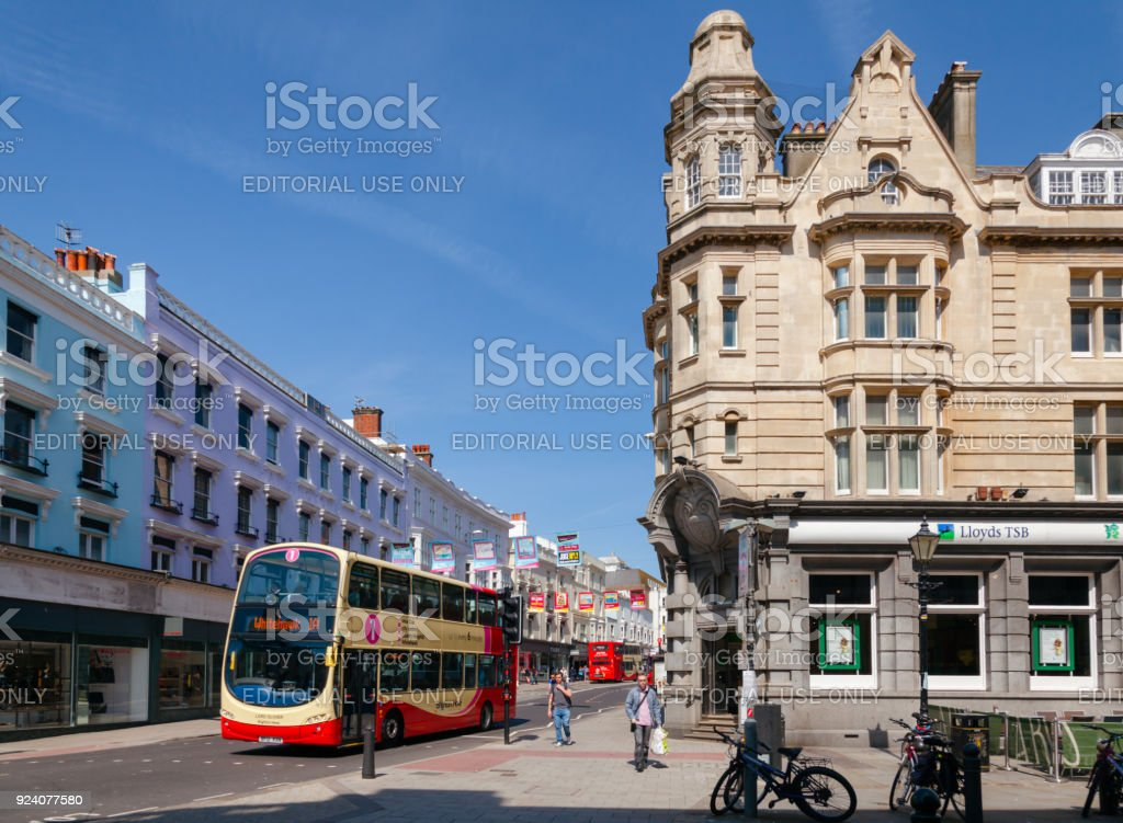 Brighton city scene with Double Decker buses East Sussex Southern England UK stock photo