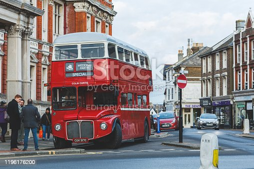 Eastbourne, UK - December 05, 2019: Historical Routemaster double-decker bus hired for a wedding in Brighton, UK. The bus was manufactured in 1954-68.
