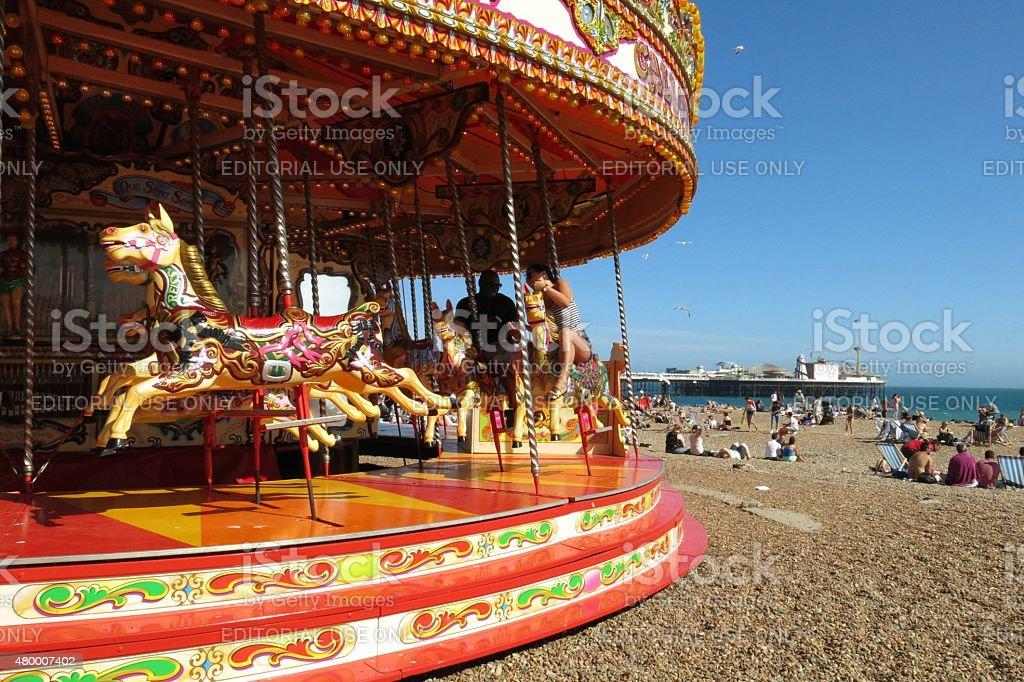 Brighton merry-go-round and Brighton Pier Palace Pier stock photo