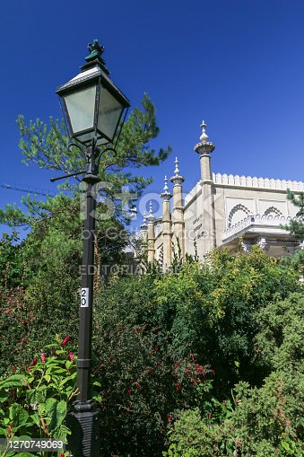 Brighton Museum & Art Gallery in East Sussex, England, with a lamp  post in the foreground