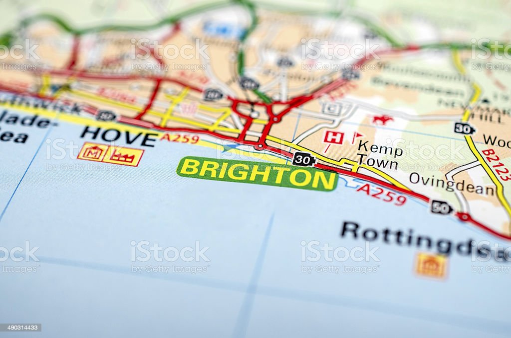 Brighton on a road map stock photo