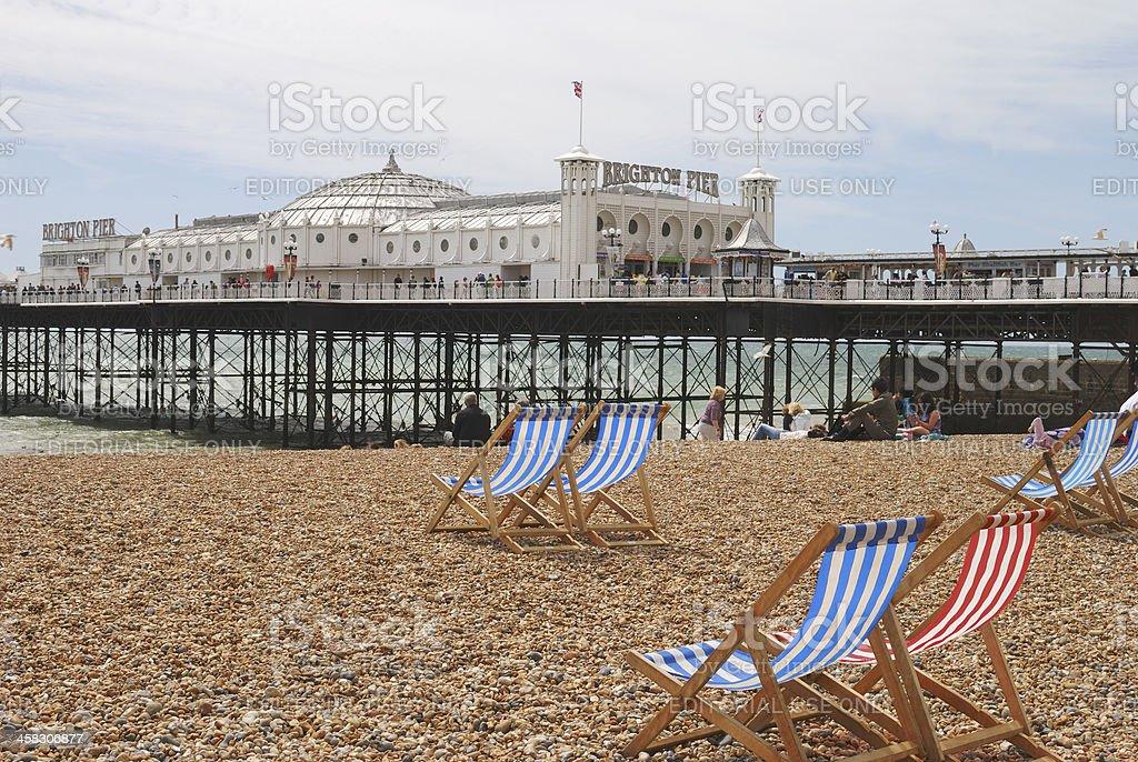 Brighton Pier and beach. Sussex. England stock photo