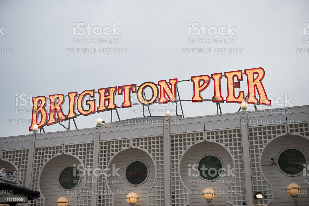 Brighton Pier sign, close-up royalty-free stock photo