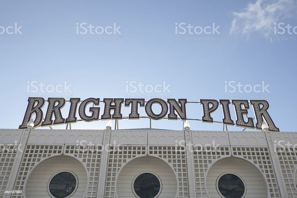 Brighton Pier sign, Sussex, UK royalty-free stock photo