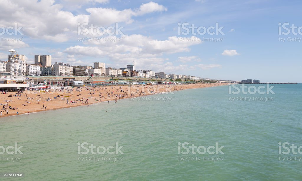 Brighton seafront and town stock photo