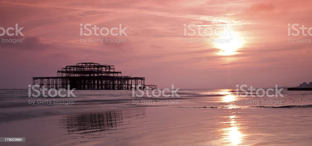 Brighton West Pier at sunset royalty-free stock photo