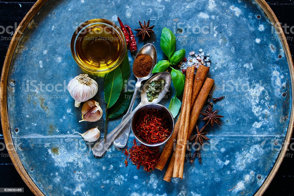 Brignt spices and herbs stock photo