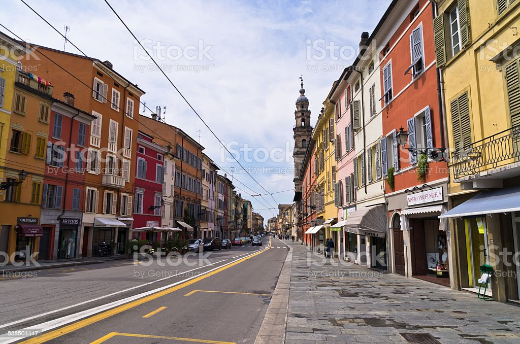 Brigthly colored houses at downtown of Parma, Emilia-Romagna stock photo
