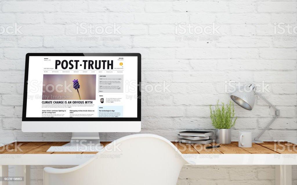 briks studio with post truth stock photo