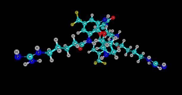 Brilacidin antibiotic molecular structure isolated on black – zdjęcie