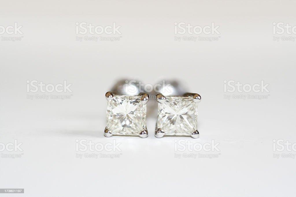 Brilliant Cut Diamond Earrings stock photo