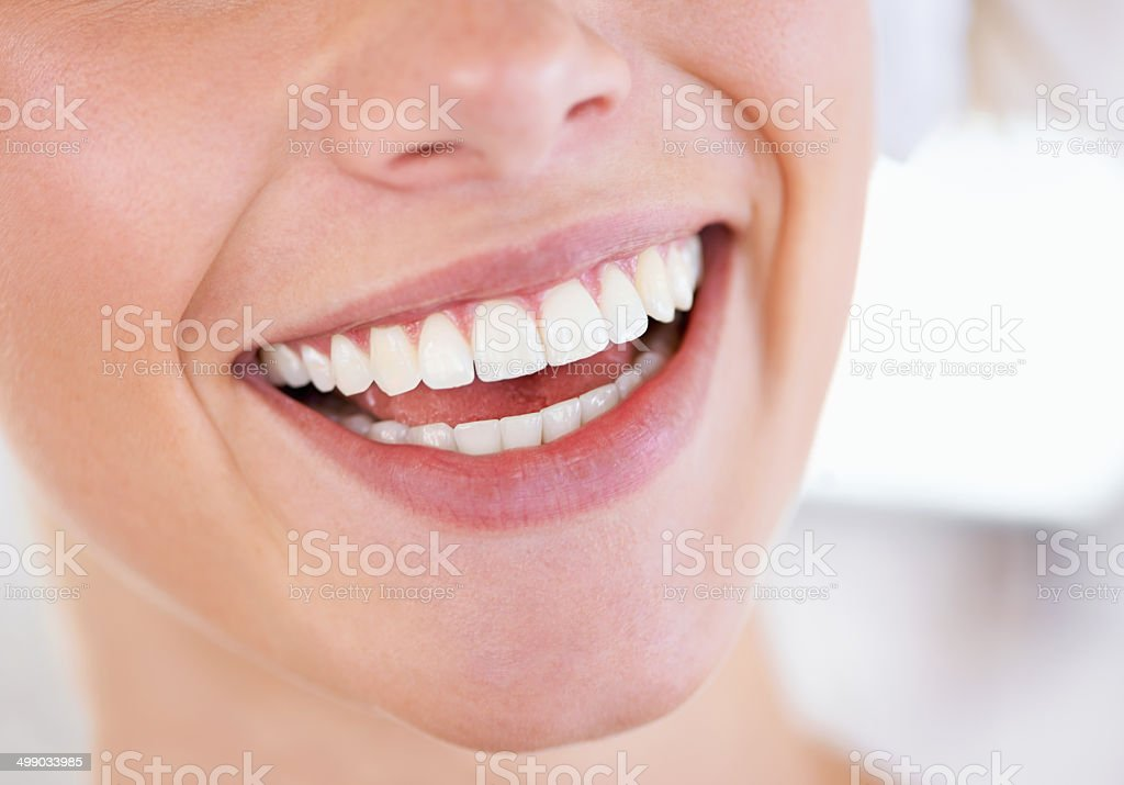 Brilliant display of pearly whites stock photo