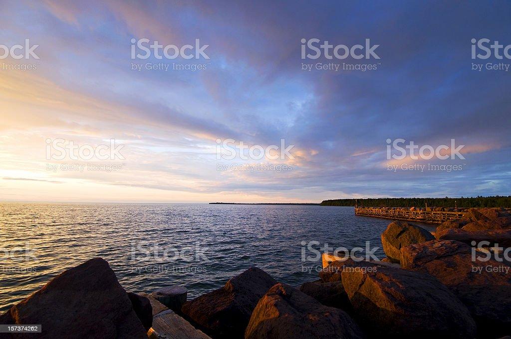 brilliant Lake Superior sunset stock photo