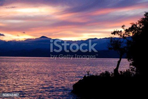 Brilliant Sunset and Silhouettes along Lake Kivu Rwanda Africa