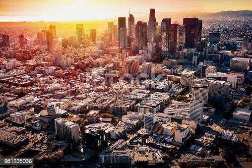 istock Brilliant Sunset Beyond the Los Angeles Skyline 951235036