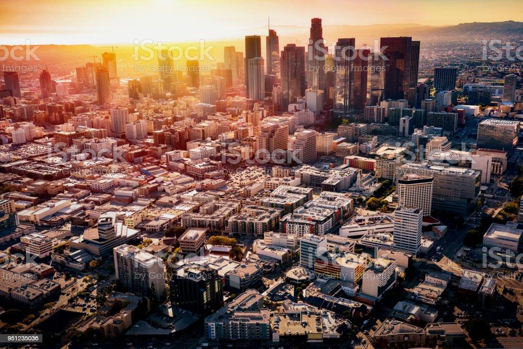 Brilliant Sunset Beyond the Los Angeles Skyline stock photo