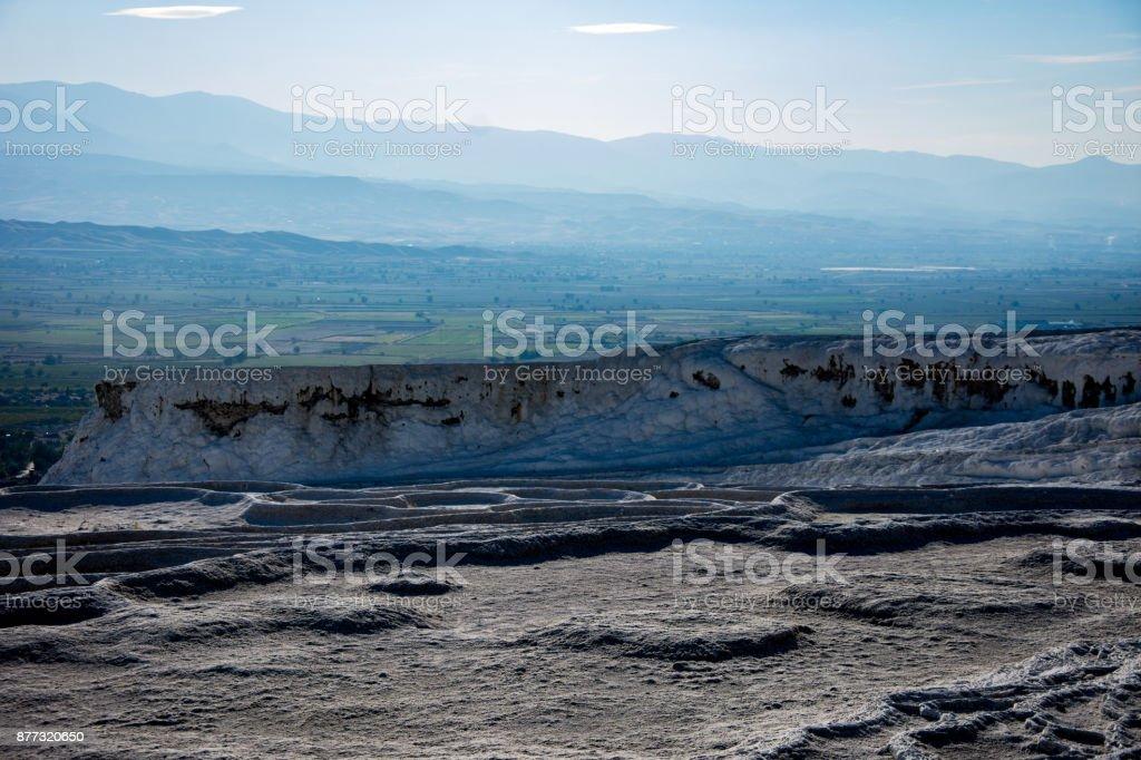 brilliant white valley of stones in Pamukkale,  Turkey stock photo