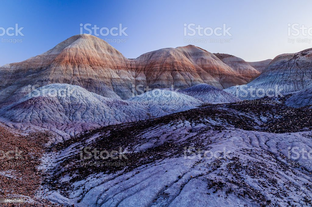 Brilliantly colored hills and badlands in Arizona's Painted desert. stock photo