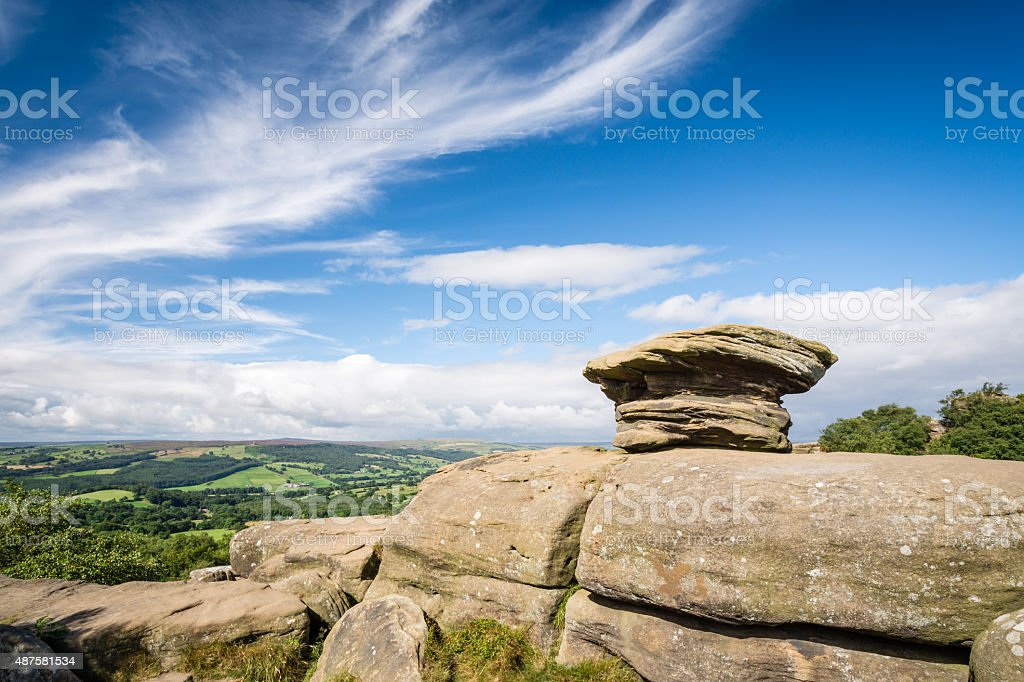 Brimham Rocks view over Nidderdale Valley royalty-free stock photo