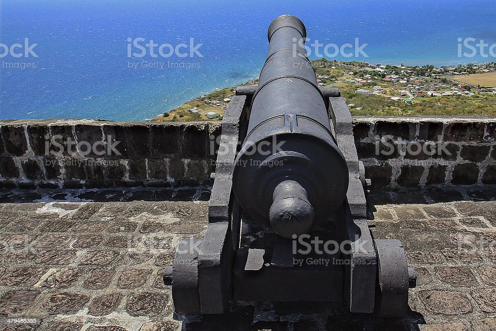 Brimstone Hill Fortress cannon, St Kitts stock photo