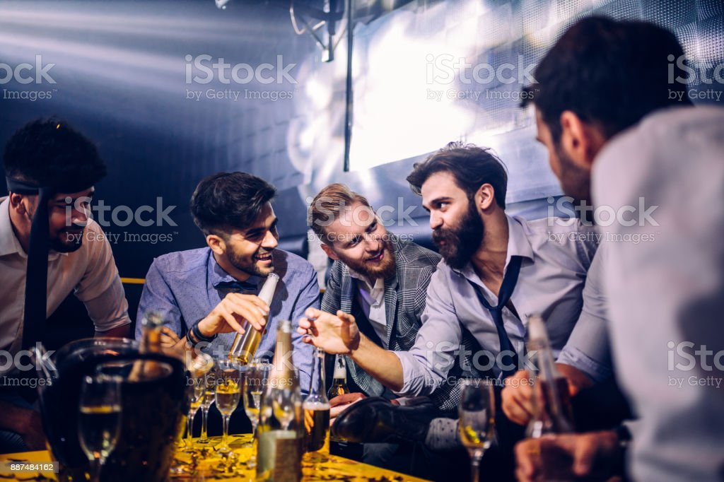 Bring on the weekend with your buddies ! stock photo
