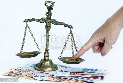824305956 istock photo Bringing a just scale out of balance. Unequal weight in finances 1210842510