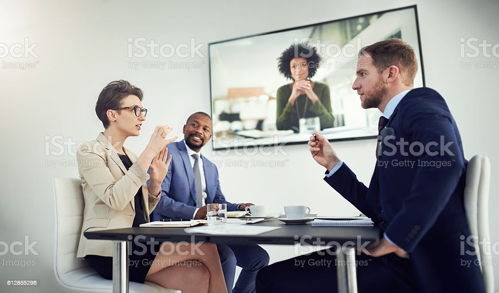 Bringing colleagues closer when distance is a factor stock photo
