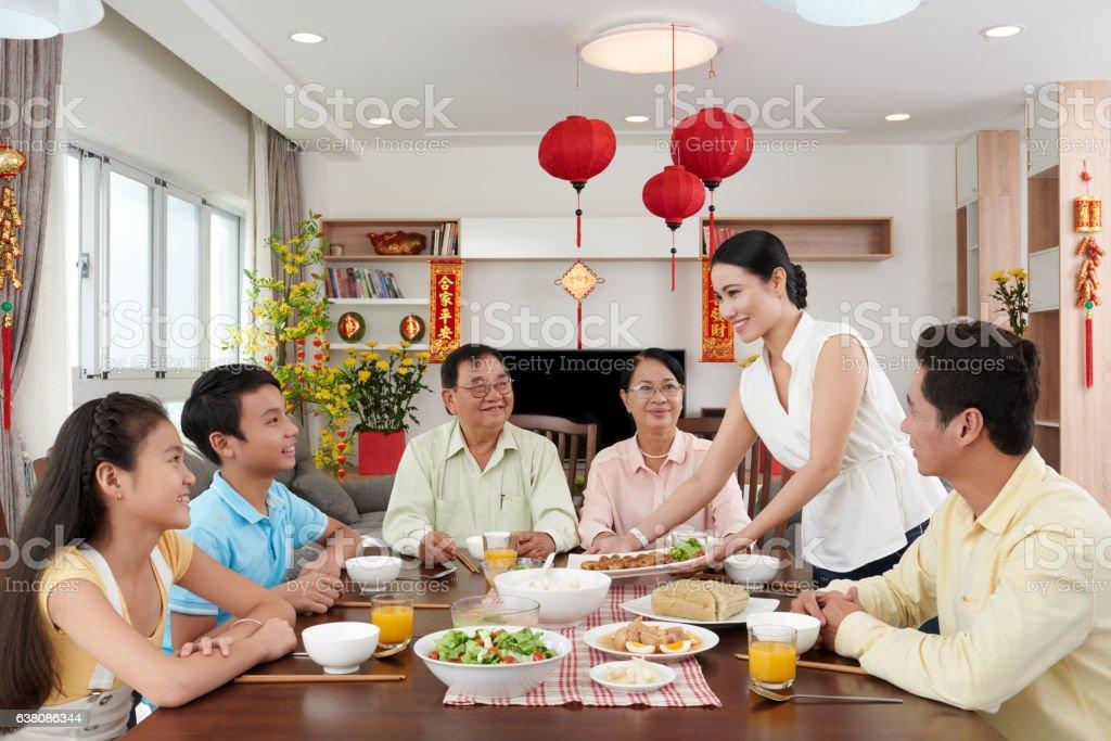 Bringing main dish stock photo