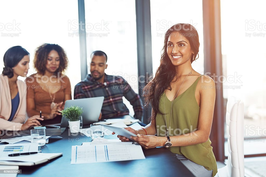 Bringing smart ideas to the table stock photo