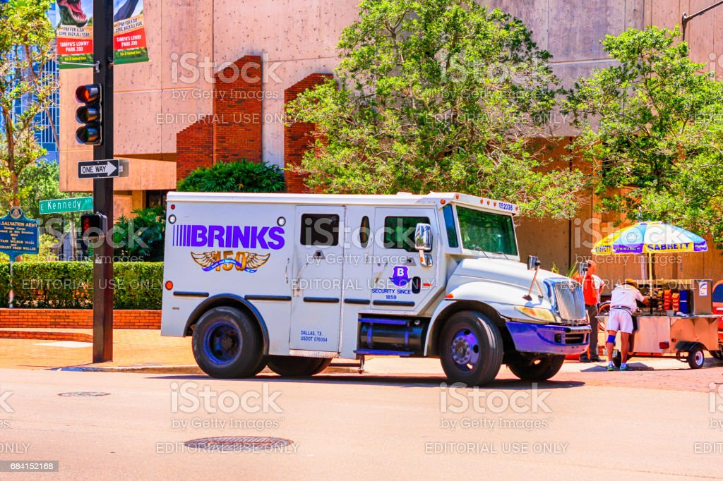 Brinks armored vehicle in downtown Tampa FL stock photo