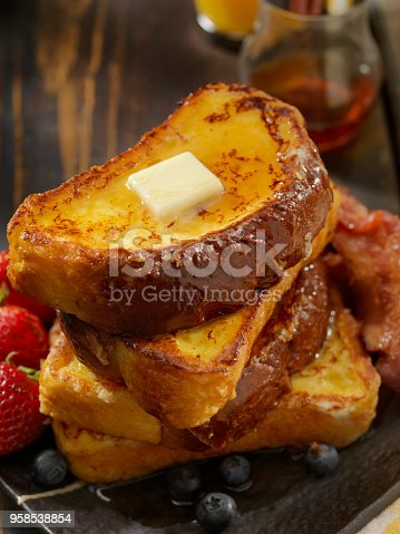 Brioche French Toast with Bacon, Eggs and Fresh Fruit