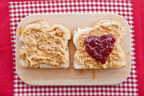 brioche with peanutbutter - peanutbutter bildbanksfoton och bilder