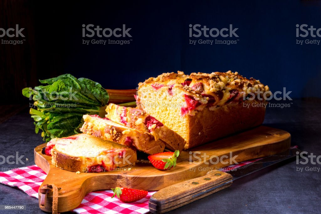 brioches with rhubarb, strawberry and streusel royalty-free stock photo