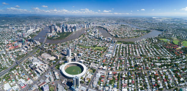 Brisbane Aerial Panorama, Queensland, Australia Huge Aerial Panorama of the Brisbane Skyline, Queensland, Australia. Converted from RAW. coot stock pictures, royalty-free photos & images