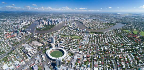 Brisbane Aerial Panorama, Queensland, Australia stock photo